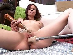 Jasmine Wolff fucking a machine with her hypno gay cocks pussy