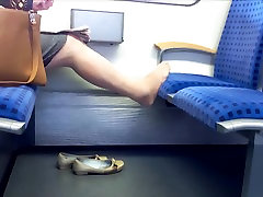 Candid Nylon feet and legs granny in train