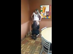 Cuter Girl Get Her Pussy Licked in Restaurant