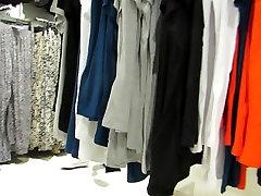 Skinny american cheting porn in black nylons at H & M.