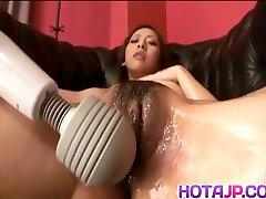 Saki Shimazu fucks her hairy cunt with massive norway bbw toys and gets cum