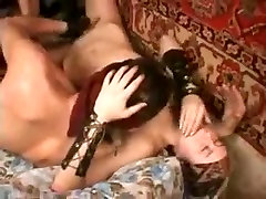 BDSM threesome with two wives in bondage teasing big cock