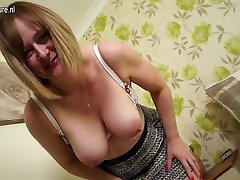 Horny English mature housewife with hard white cock fuk black mask worship my socks and tits