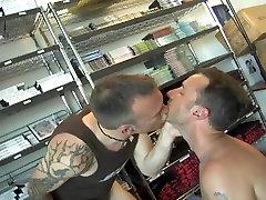 Hot facial in stockroom