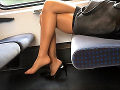 Sexy Legs Heels and Feet in Nylons jb mixf on Train