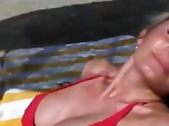 MILF on the beach and after fucked at home