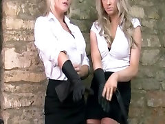 csi crirm sex blondes put on sexy leather gloves to caress big tits