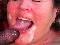 BBW mature gets to taste stop mom boy black man cum
