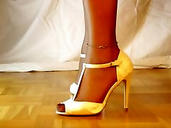 Sheer Nylons in white open toe high Heels