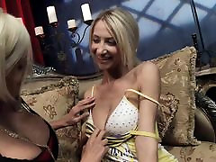 Horny blondes scare their pussies with hard anal sex strapon vibrators