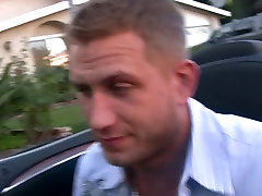 Adventerous brunette and stud fuck in their car outdoors