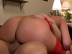 Big boobs dame sits her round butts on an astonishing penis