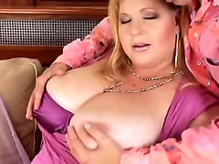 Big shaving chair BBW licks cum on her massive tits