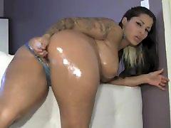 Latina with ebony long nails bdsm booty oiled ass