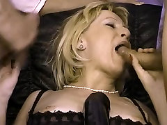 hot eye rolling cum fucked by big black toy and take two facials