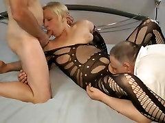 Old cuckold shares slut & cleans up