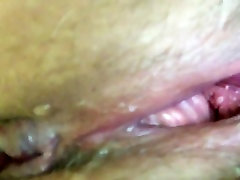 Dripping WET close up Hairy White Pussy