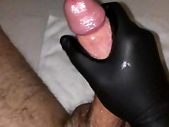 Slowmo Cumshot using Black Latex Gloves 1