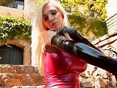 Latex Lady in Gloves and Red Dress