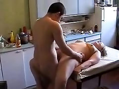 Busty military shower with young guy in the kichen
