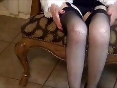 Granny in stockings and fur