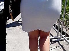 - PAWG לובש לבן שמלה צמודה!