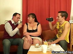 Two young dudes share chubby mature bitch