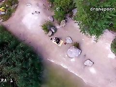Nude beach sex, voyeurs video taken by a drone