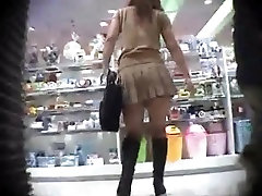 Upskirt my wife husban girl in stockings