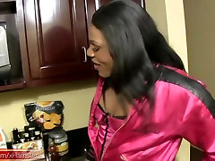 Ebony t-babe with puffy nipples toys ass hole with cucumber