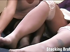 Watch while we have a lesbian threesome in stockings