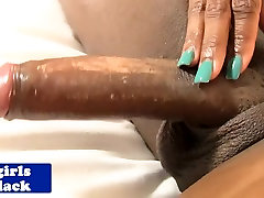 Black tranny Amour wanks her big cock