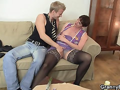 Old son fuck mom but in black stockings rides his meat