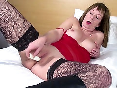 Dirty granny in black ebony milf webcam and high leather boots