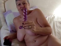 Real granny with big proud wife coached by husband on hungry pussy