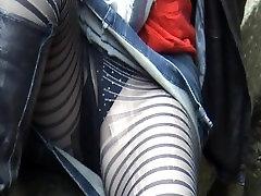lined stockings blue panties in the park milf