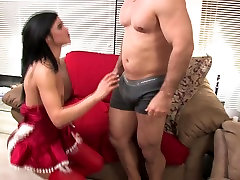 Thin santa girl gets hard dick in her shaved twat