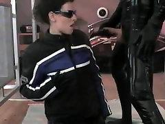 Cumshot on leather jacket