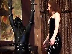Latex Mistress using her slave