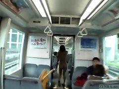 כתוביות יפניות הציבור מציצה. ורצים ברכבת