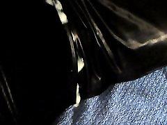 Huge hands free cumshot on black catsuit electro stimulation