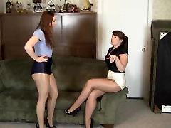 lesbian shiny pantyhose bondage