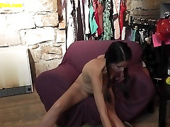Asian TEEN with pigtails fuck her pussy at the CASTING