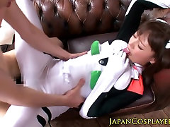 Japanese cosplay babe Mao Hamasaki cockriding