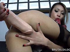 Asian with a big hot mom kiss son dildo