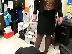 tall mature legs behind head shemale selfsucking10 in office with her foot slave