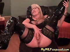 My MILF Exposed Stockings and boots mastrubation mom appears with me vintange boob
