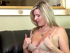 Amazing amateur fantasy death mother on leather couch