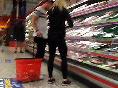 Hot blonde ass in tight spandex leggings 2