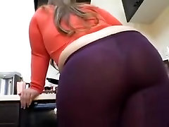 Beautiful brunette BBW in see through leggings with thong